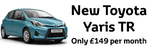 A New Toyota Yaris for just 149 per month with 1 years free insurance 